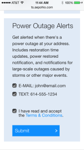 The sign-up for for outage alerts.